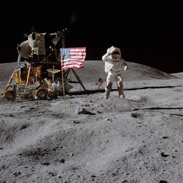 Als erstes Revier markieren, Apollo Mission auf dem Mond. Bild: NASA
