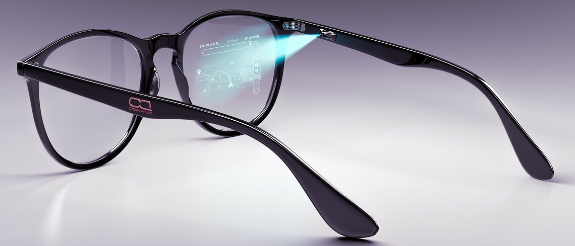 So könnte ein AR-Brille mit der Technologie von OQmented aussehen.