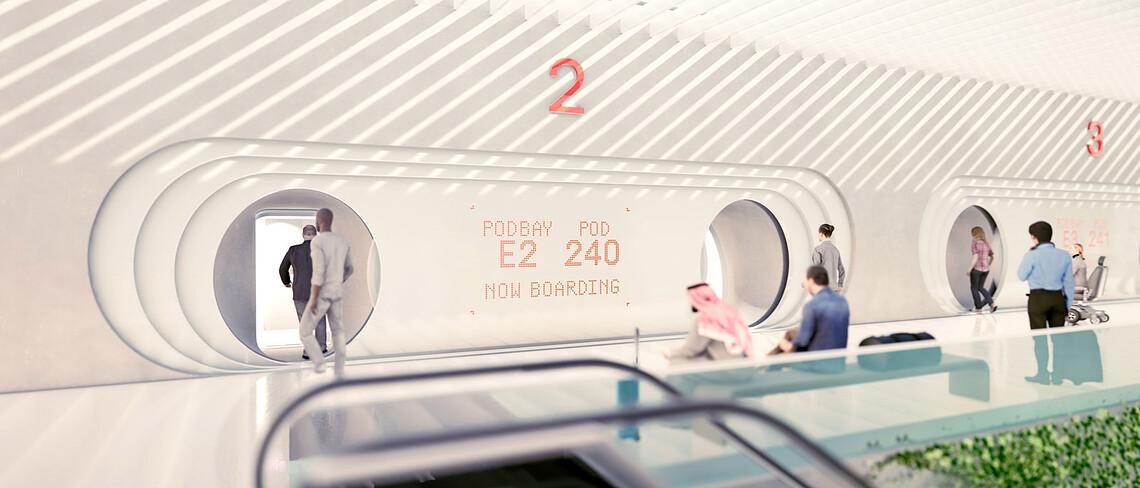 So stellt sich Virgin Hyperloop ein Gate vor, über das eine Kapsel betreten wird.