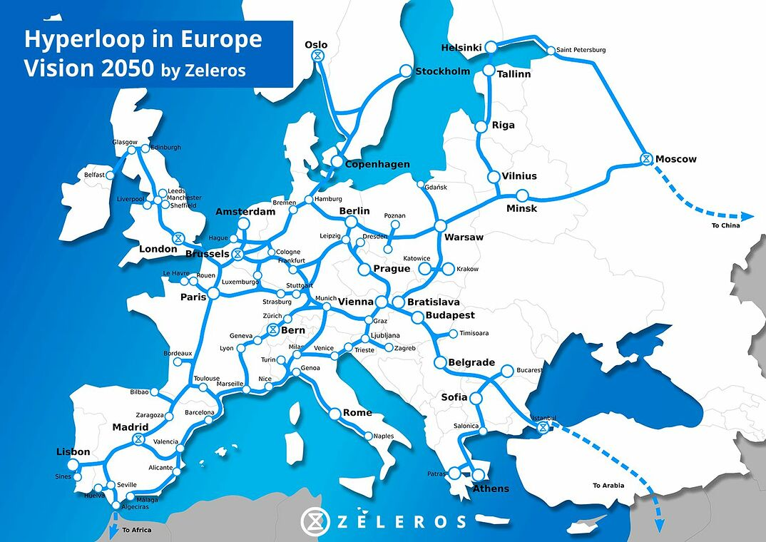 Zeleros´ Plan für ein europäisches Hyperloop-Netz