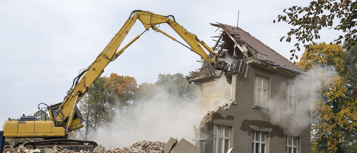 A house being demolished.