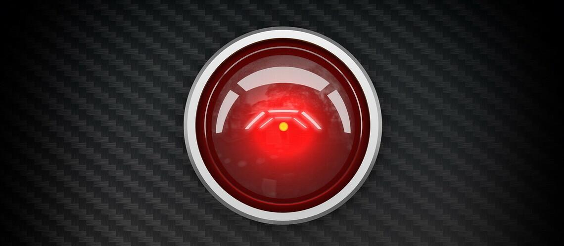Das rote Kameraauge von HAL 9000 aus dem Science-Fiction-Film 2001: Odysee im Weltraum