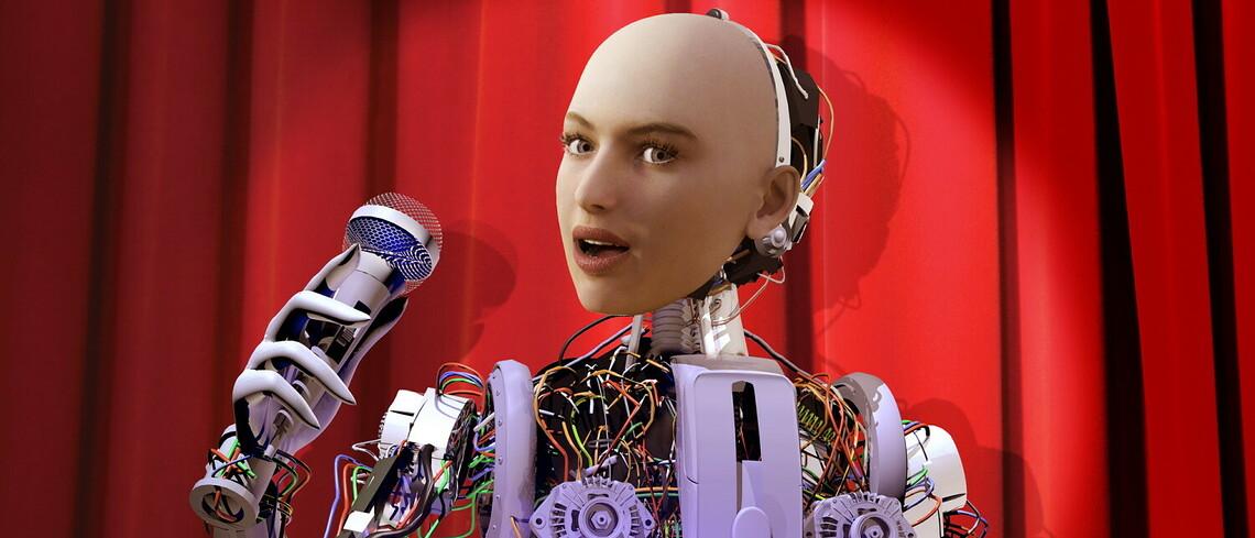 Ein humanoider Roboter auf einer Bühne