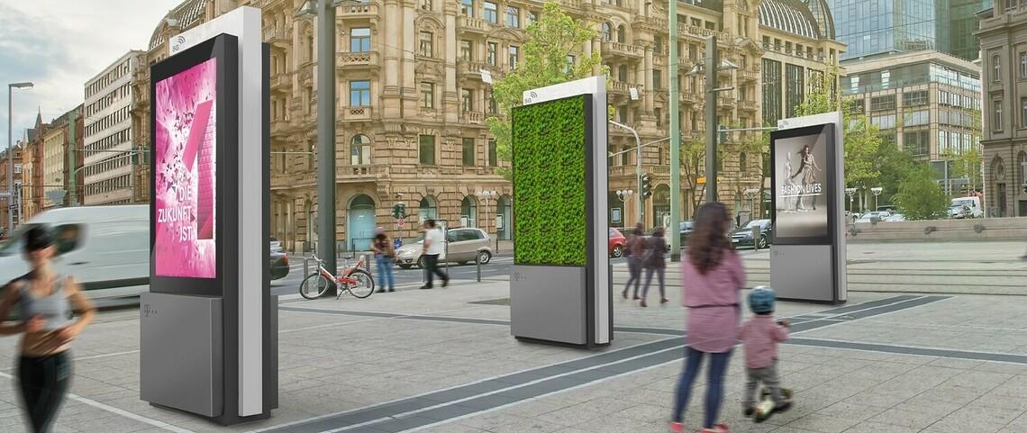 Saubere Luft alleine ist wohl leider kein Argument, um manche Städte oder Betreiber von öffentlichen Anlagen zu überzeugen. Daher wird es die Moos-Filter auch mit eingebauten Werbepaneelen geben. ©Green City Solutions