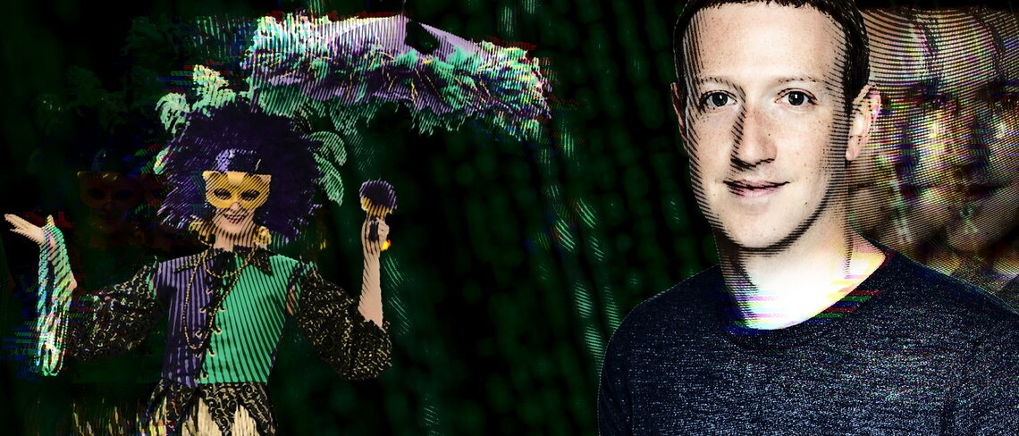Collage mit Mark Zuckerberg und einer Hofnaerrin