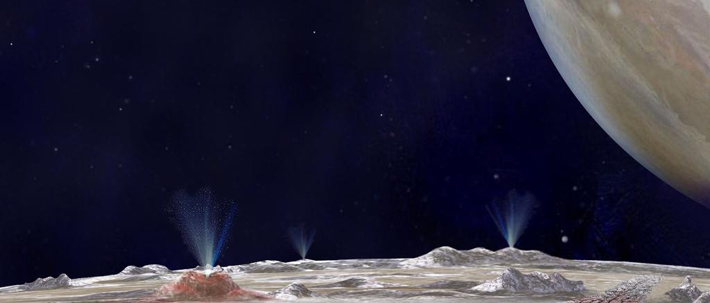 Könnten Wasserfontänen auf dem Jupitermond Europa Hinweise auf Leben enthalten?