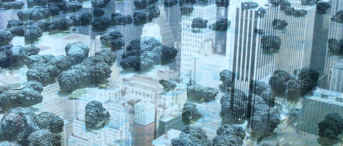 Primordial Cities Initiative credit_David Holt (skyscraper) and Didier Descouens (stromatolite),Jonathon Keats (illustration)